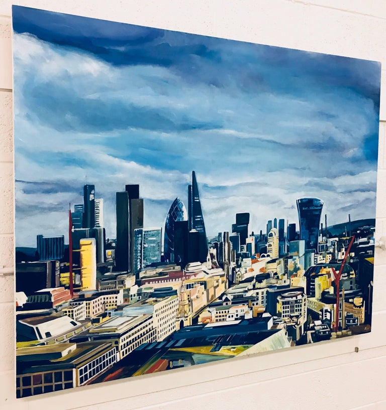 Original Painting City of the London Skyline by Collectible British Urban Artist - Gray Landscape Painting by Angela Wakefield