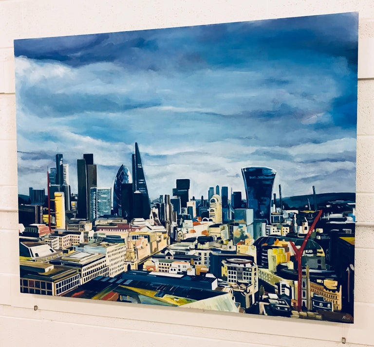 Original Painting City of the London Skyline by the highly collectible British Urban Artist, Angela Wakefield. This painting captures the view from St.Paul's Cathedral, looking in an eastward direction across the Cityscape of London. As you can see,