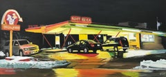 Root Beer American Gas Station Painting by Edward Hopper Inspired British Artist