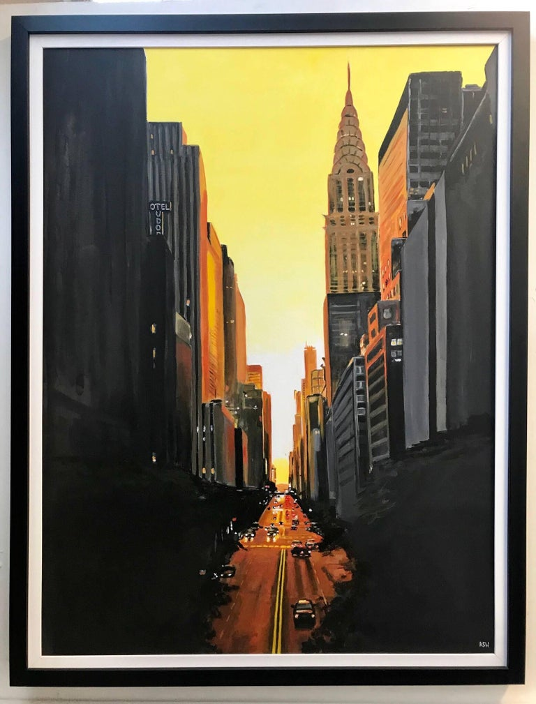 42nd Street New York Series Cityscape Painting by British Urban Landscape Artist - Black Landscape Painting by Angela Wakefield
