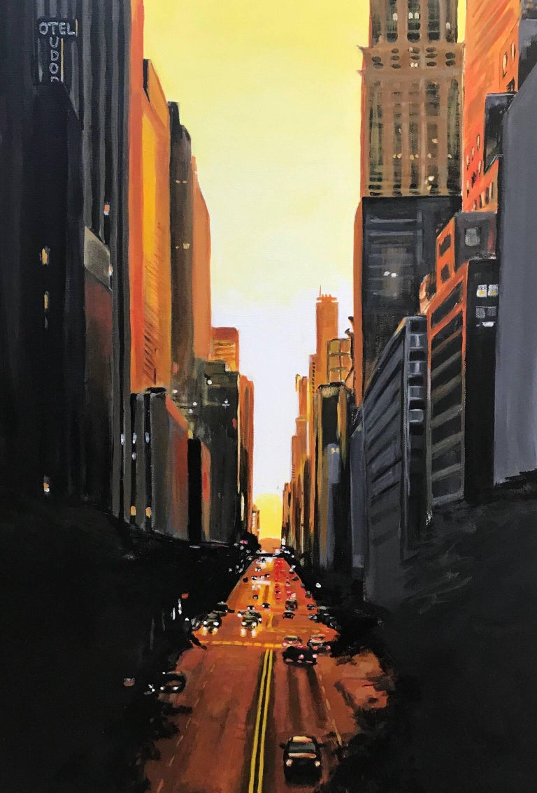 42nd Street Cityscape Painting by British Urban Landscape Artist Angela Wakefield. This original is part of the New York Series and has been featured in exhibitions in the south of England, namely in a showcase entitled 'Life in the Urban