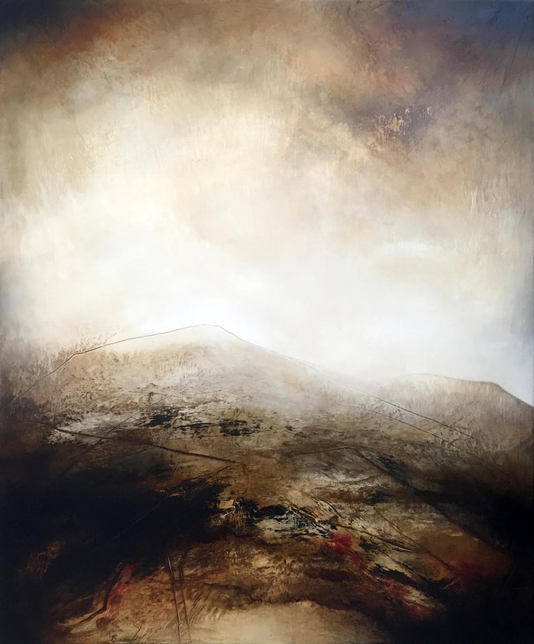Atmospheric Abstract Landscape Painting of English Moorland using Earthy Tones