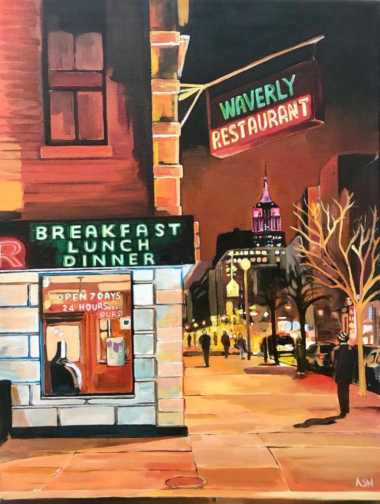 Waverly Diner Greenwich Village 6th Avenue New York City NYC by British Artist