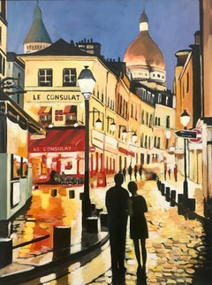 Original Painting of Le Consulat Café Montmartre Paris France by British Artist