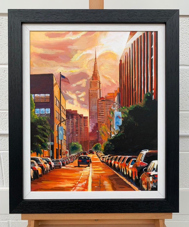 Empire State Sunset New York Cityscape by Leading British Urban Landscape Artist 2