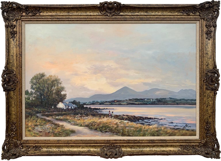 William Cunningham Figurative Painting - Oil Painting of Murlough Bay with the Mourne Mountains in the Distance Ireland