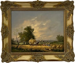 Oil Painting of Country Harvest Scene with Horses & Figures by British Artist