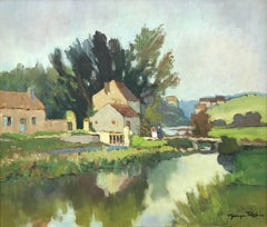 Impressionistic 20th Century Oil Painting by French River Landscape Artist