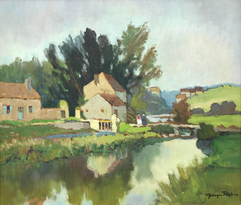 Georges Charles Robin Landscape Painting - 20th Century Impressionist River Landscape Oil Painting by French Museum Artist