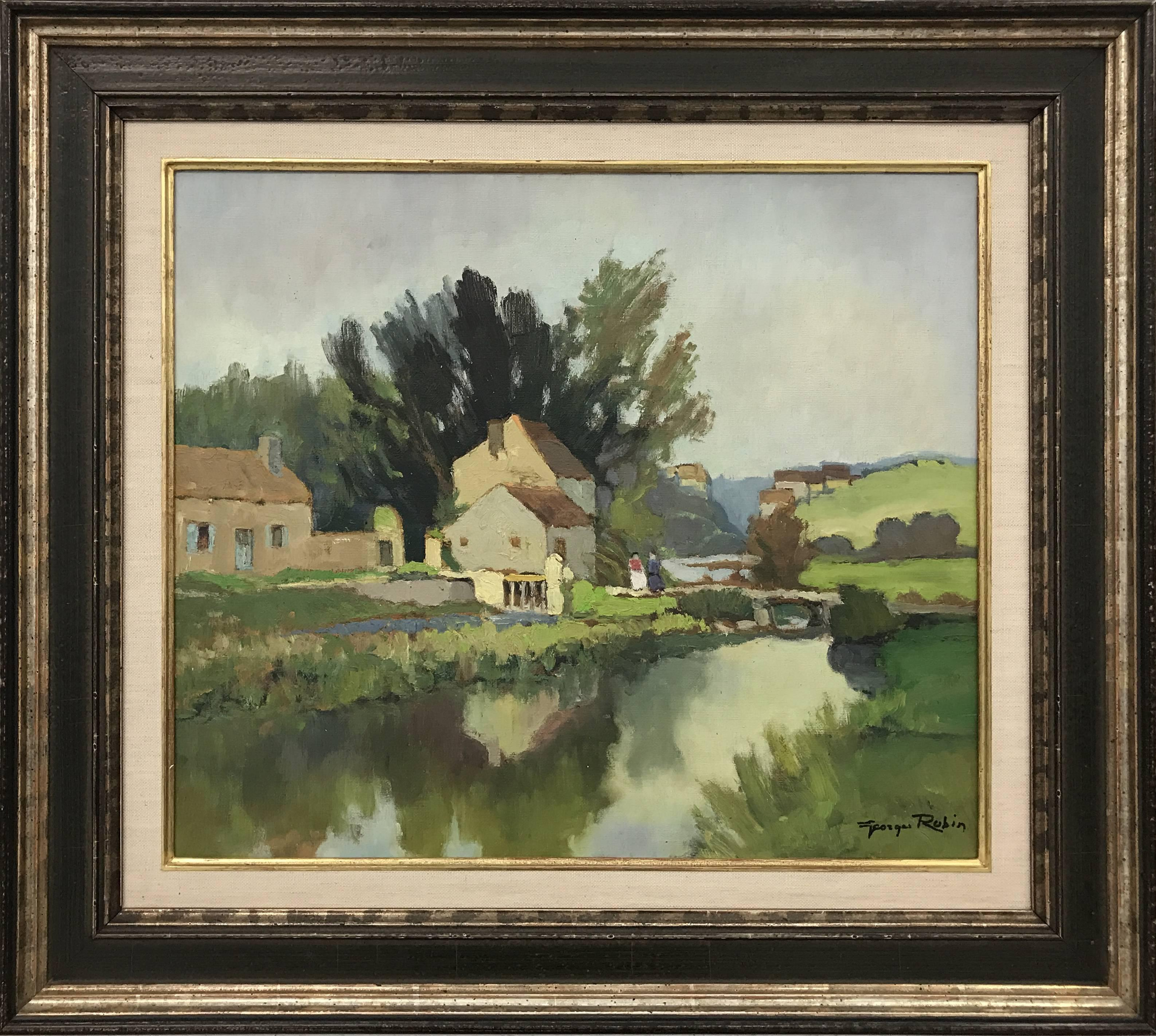 20th Century Impressionist River Landscape Oil Painting by French Modern Artist