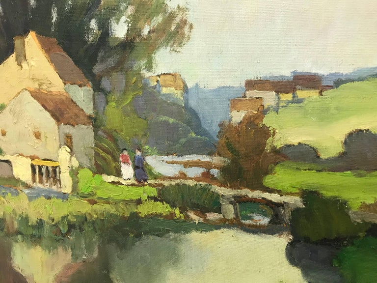 20th Century Impressionist River Landscape Oil Painting by French Museum Artist For Sale 3