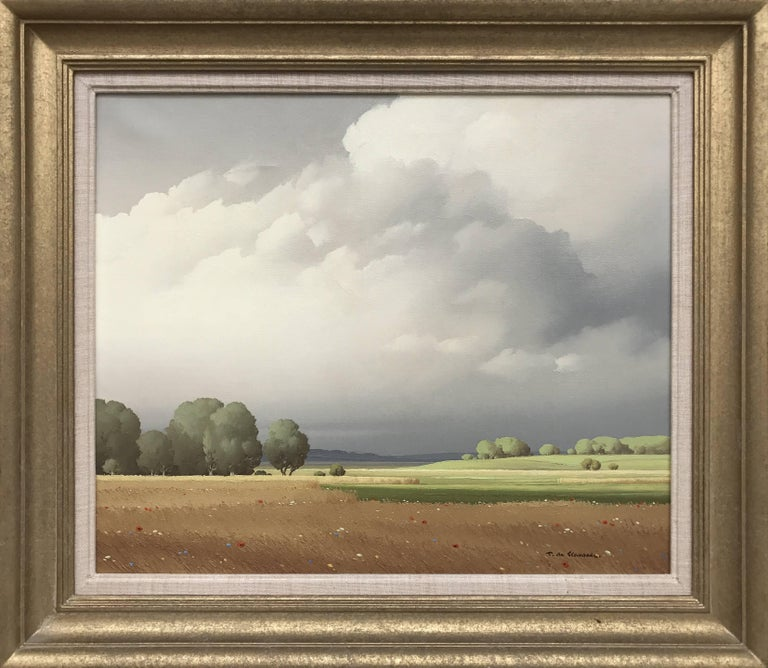Ciel de France by Pierre de Clausade (1910-1976) Oil on canvas, dated 1959 (20th Century/Post-War/Modern) Height 46.35cm x width 55.24cm (18.25 x 21.75 inches) Signed on the lower right, presented in a beautiful authentic gold frame  The sanitised