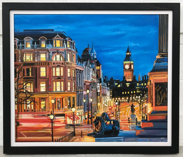 Trafalgar Square, Big Ben, Westminster London by British Cityscape Artist - Painting by Angela Wakefield