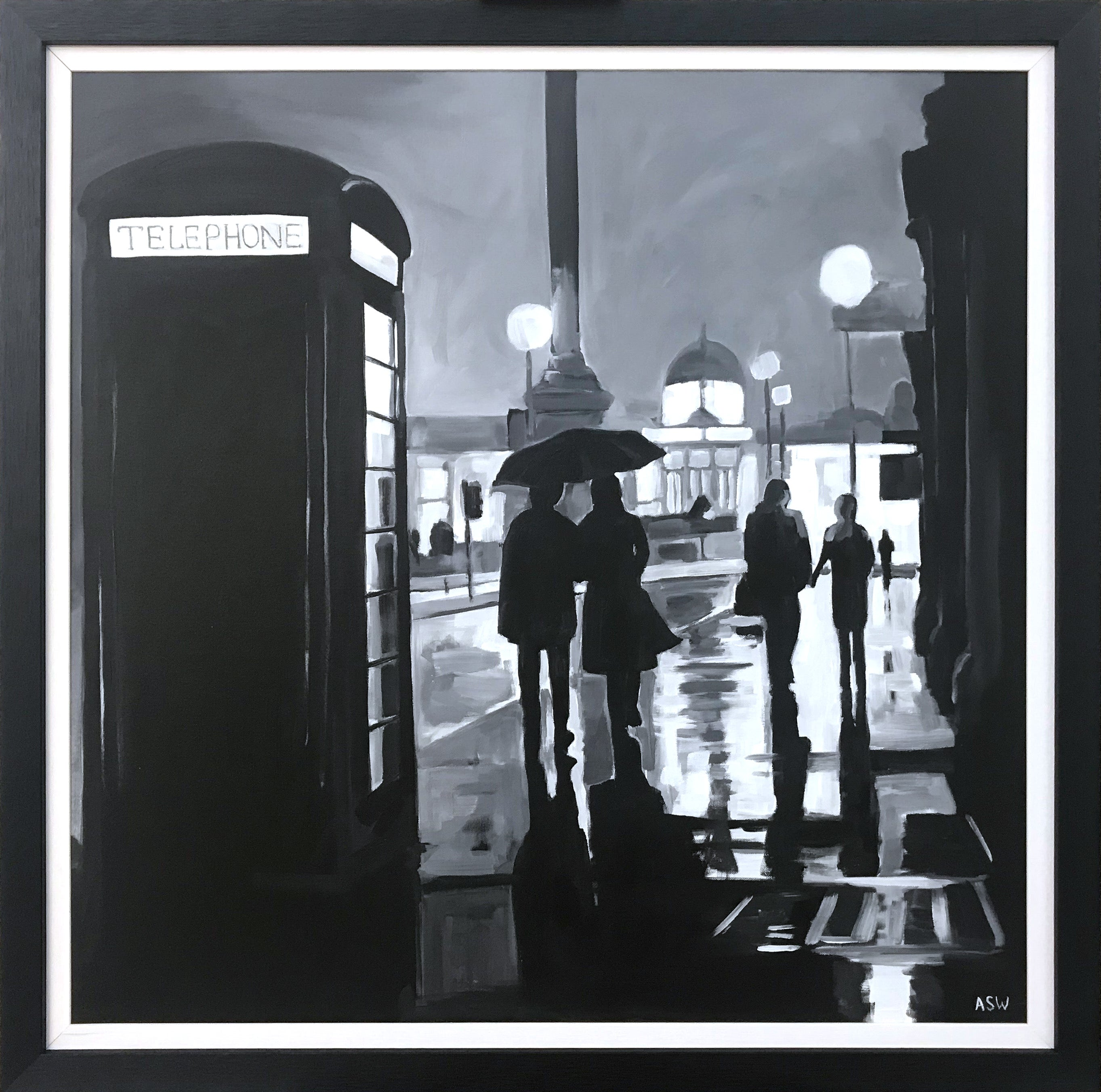 Painting of Trafalgar Square Rain London City by British Urban Landscape Artist