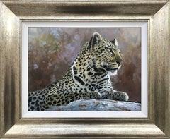 Realist Leopard Portrait Wild Cat Painting from British Wildlife Tiger Artist