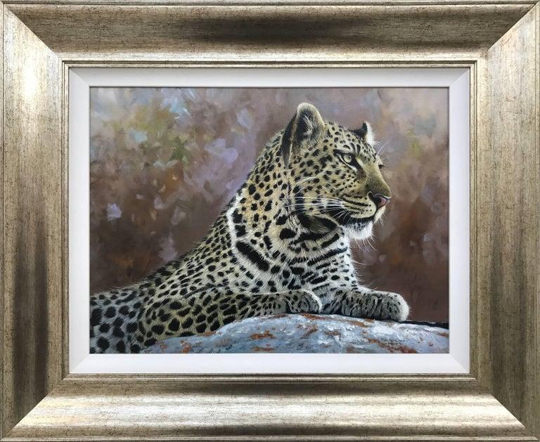 Leopard Portrait - Wild Cat Regal Beast Painting from British Wildlife Artist 2
