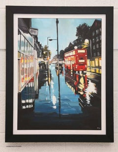 'London Bus in the Rain' - Cityscape by Leading British Urban Landscape Artist