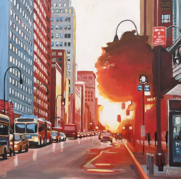 New York City Street Scene - an Original Painting by British Urban Landscape Artist Angela Wakefield.   The character of New York's skyline and large residential districts is often defined by the skyscrapers, street scenes and elegant brownstone row