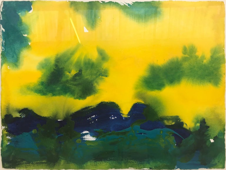 Santa Barbara California Blue Yellow Green Modern Abstract Landscape Painting  Margaret Francis received her Degree in Fine Art from Winchester Art School in England and her Higher Degree in Fine Art from the Chelsea School of Art in London. Her