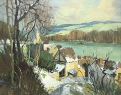 Port-Villez Neige Original French Landscape Impressionistic Riverscape Painting