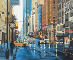 New York Rain Painting of Manhattan Street by British Urban Landscape Artist UK