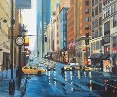New York Rain Painting of Manhattan Street by British Urban Landscape Artist UK