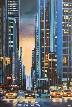 Radio City New York Painting of Manhattan by British Urban Landscape Artist