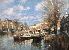 Oil Painting of Amsterdam Canal by 20th Century Dutch Urban Landscape Artist