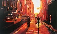 New York Woman Figurative Cityscape Painting, British Urban Landscape Artist