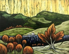 Cumbrian Water Abstract Landscape Red Green Yellow Painting by British Artist