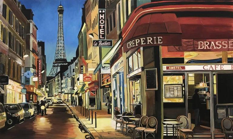 Paris Café with Eiffel Tower, France, Painting by British Urban Landscape Artist