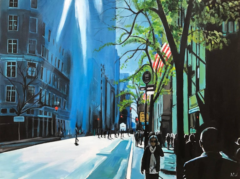 Blue Sky in New York City Sun by British Contemporary Urban Landscape Artist For Sale 1