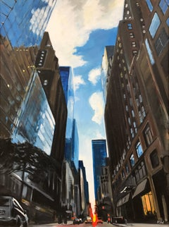 Manhattan Street New York Cityscape by Leading British Urban Landscape Artist UK