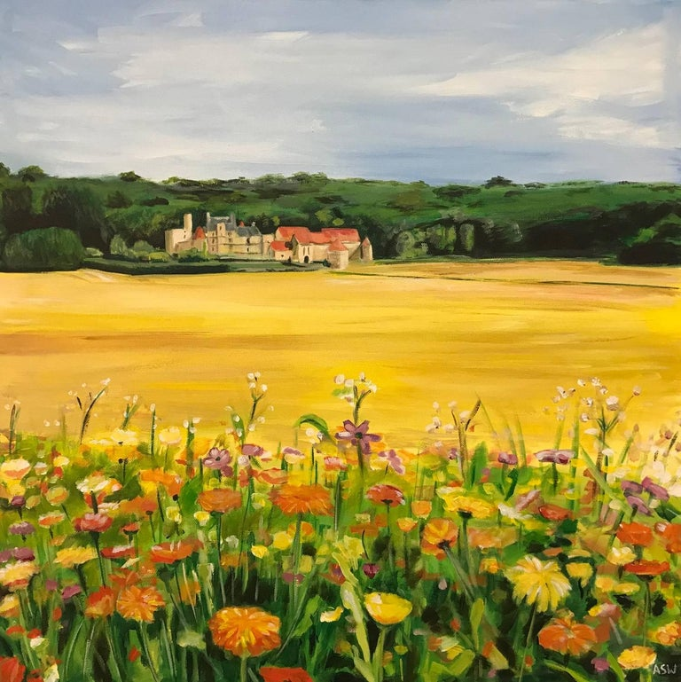 Angela Wakefield Landscape Painting - Painting of French Chateau & Wild Flowers in a Field by English Landscape Artist