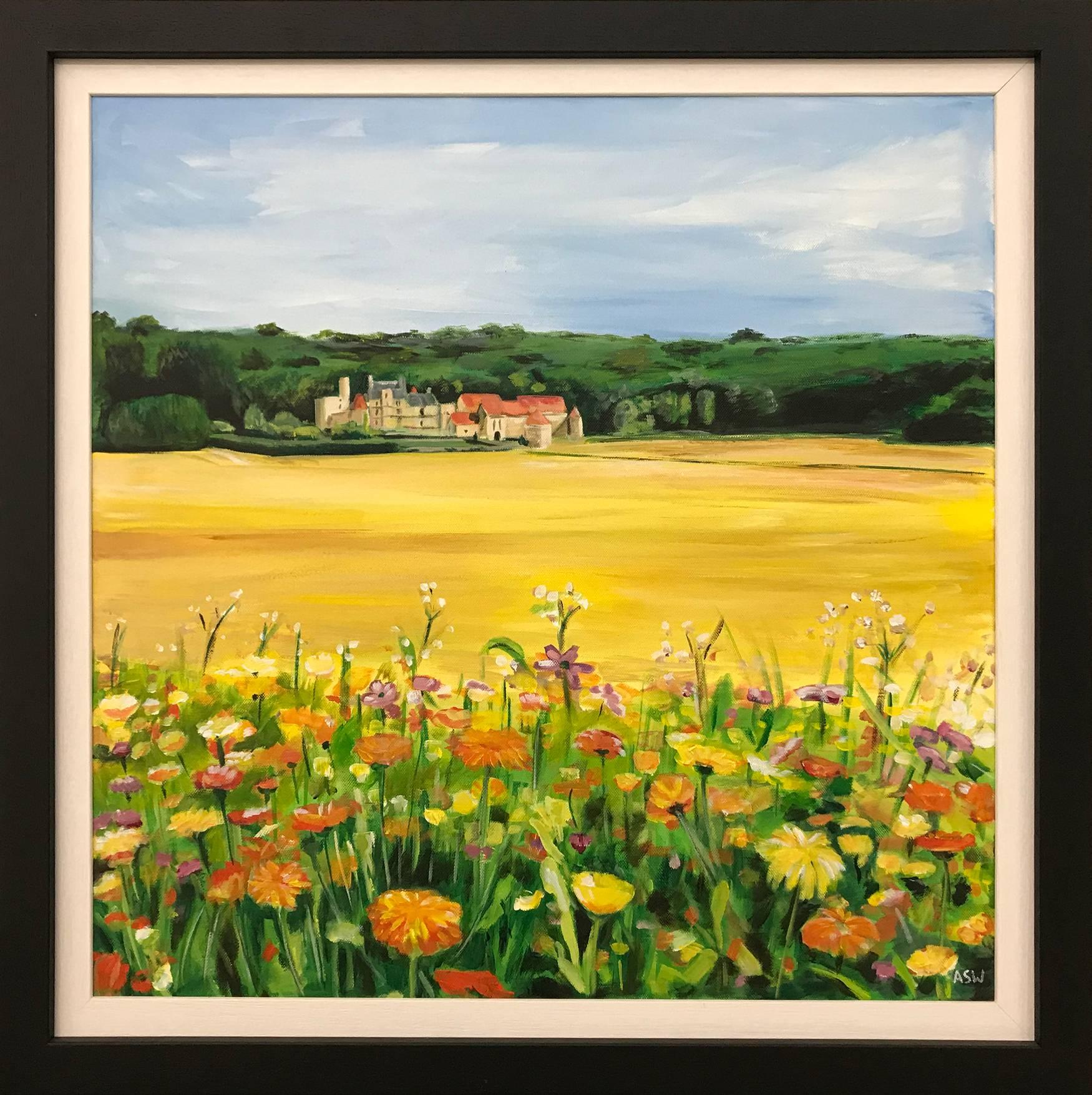 French Chateau Wild Flowers in Field Burgundy France by English Landscape Artist