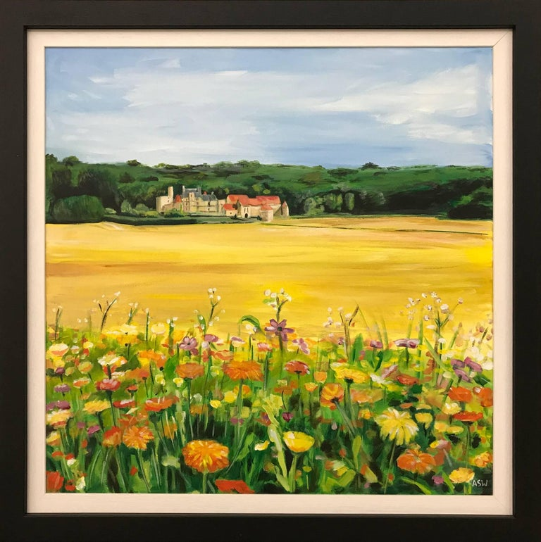 Painting of French Chateau & Wild Flowers in a Field by English Landscape Artist - Black Landscape Painting by Angela Wakefield