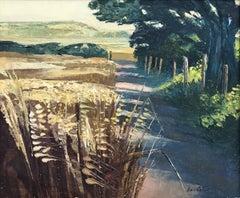 Barley Lane - Impasto Oil Painting of English Field Road Landscape by UK Artist