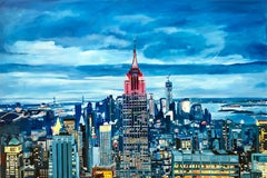 Empire State Manhattan Cityscape Painting, New York, by British Landscape Artist