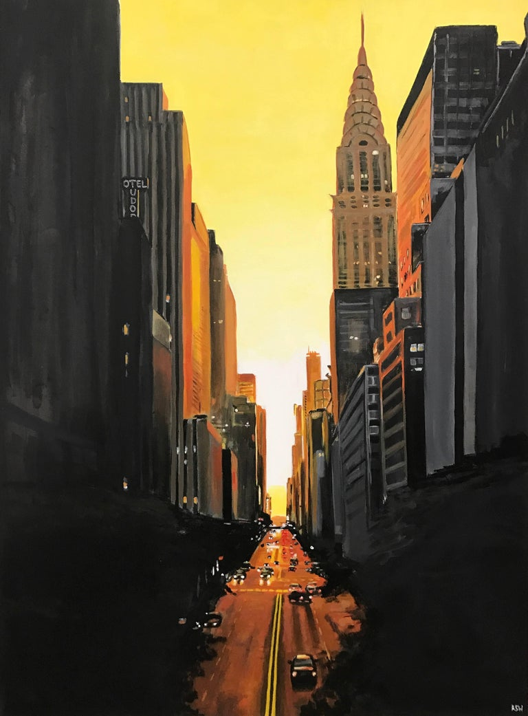 Angela Wakefield Landscape Painting - 42nd Street New York Series Cityscape Painting by British Urban Landscape Artist