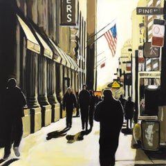 Painting of New York Sunshine on Pine Street NYC by Leading British Urban Artist