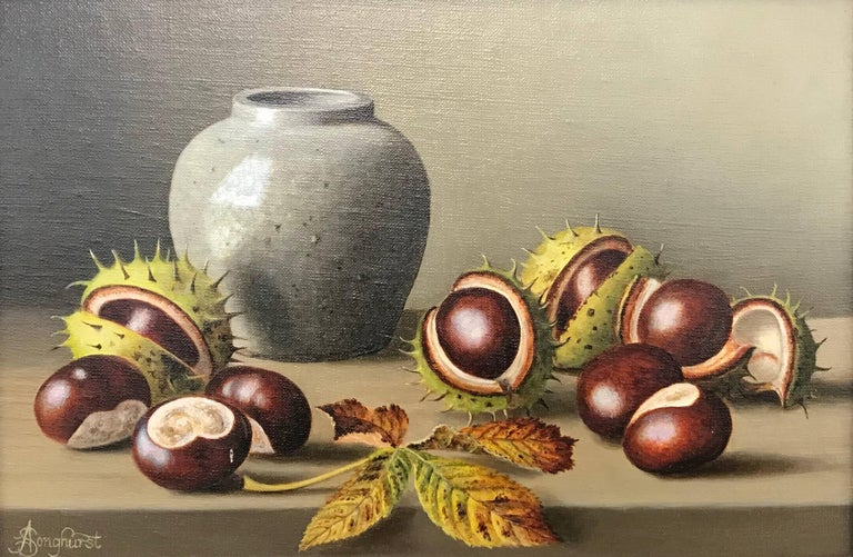 A beautiful Still Life Painting of Horsechestnuts with Jar from British Artist