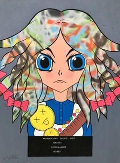 Wonderland Female Figure Manga Graffiti Street Art by British Urban Artist