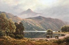 Landscape Painting of Ben Lomond in Scotland with Highland Cows at Loch Lomond