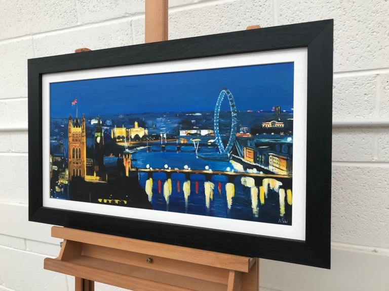 Thames London by Night Cityscape Art by British Urban Landscape Artist - Impressionist Painting by Angela Wakefield