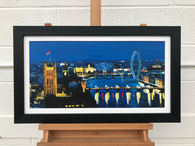 Thames London by Night, No.4 - Cityscape Art by British Urban Landscape Artist Angela Wakefield. This painting of the River Thames London is part of the London Collection.  Angela has produced numerous paintings of London over the last decade. Her