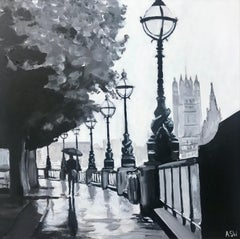 Painting of Victoria Embankment London in Rain by Leading British Urban Artist
