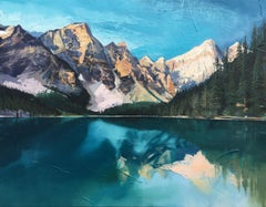 Lake Louise, Alberta, Canada Mountains in Winter by British Contemporary Artist