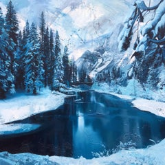 Ice River Canada Winter Painting by British Contemporary Award Winning Artist