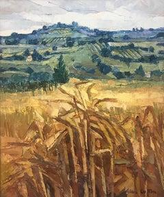 Casole D'Elsa Harvest Tuscany Impasto Oil Painting of Landscape by UK Artist