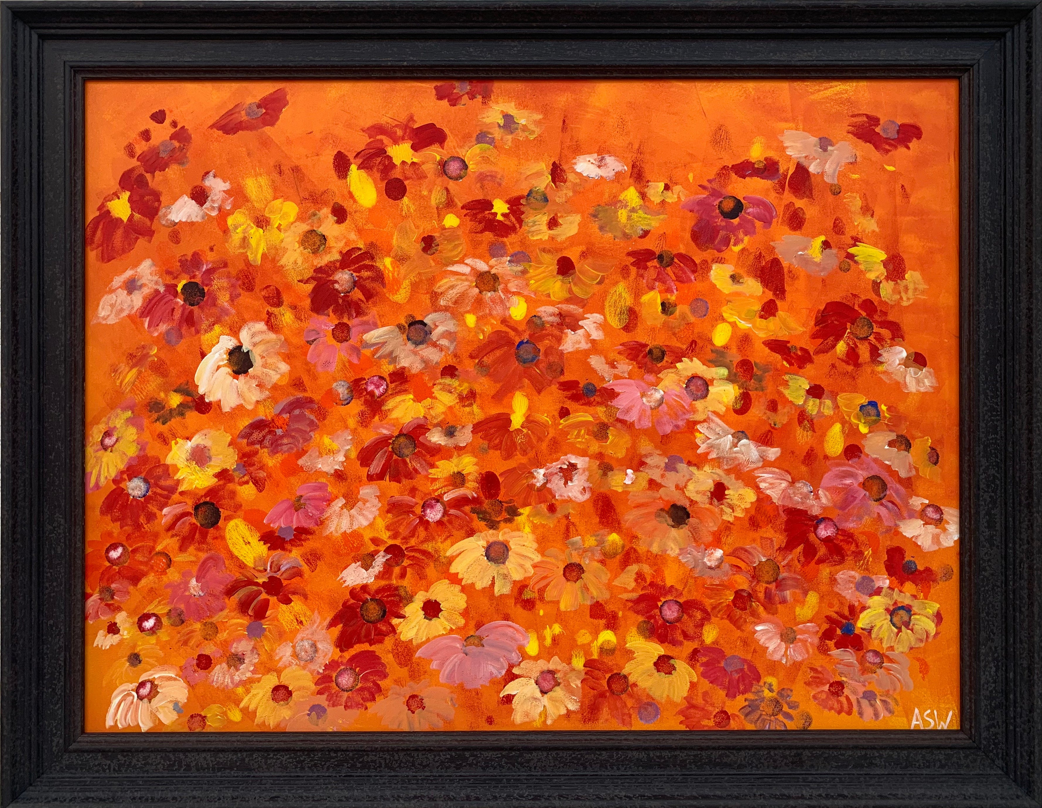 Abstract Red Pink Wild Flowers on Orange Design by British Contemporary Artist